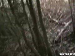 Cute teen gives her boyfriend outdoor blowjob