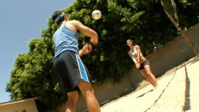 After a tough volleyball practice Mya Nichole gets her tight ass fucked