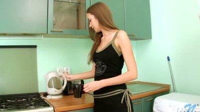 Needy Teen Pussy on the Kitchen sink