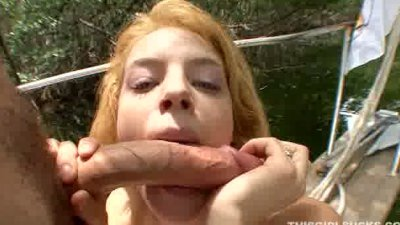 redhead chick thanks her saver by sucking his cock