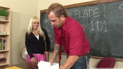Busty blonde schoolgirl Briana Blair getting fucked hard by her adviser