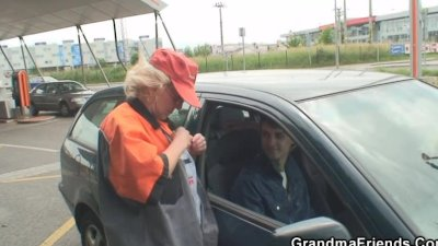 Old bitch takes two cocks outdoors
