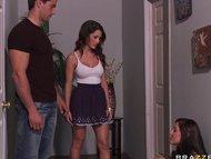 Big tit teen brunette deepthorats her sisters boyfriends big cock.