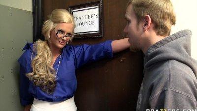 Big tit blonde teacher fucks her principal in front of her studen