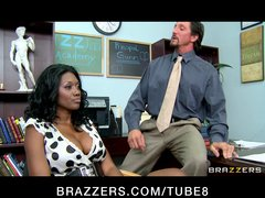 Sexy black ebony milf will do anything for her son's education