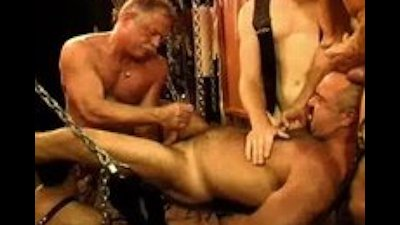 Five man sensual CBT, BDSM orgy featuring bears and otters.