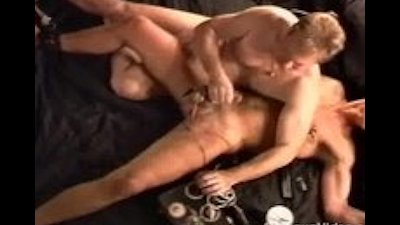 Hot young blond muscular bottom writhes and groans as I turn up t