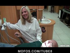 Sexy young dentist with perfect tits fucks patient in her office