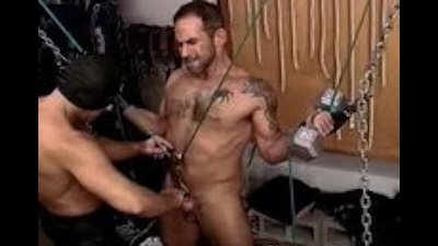 Ball punishment with sexy muscular hairy dude suspended in my dun