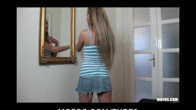 Hot Horny blonde babe slut fucks her wet tight pussy with dildo