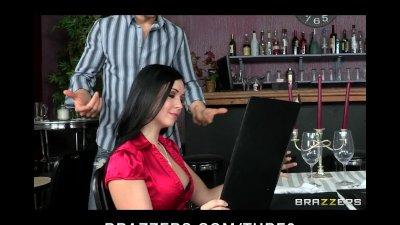 HOT busty brunette Latina slut has wet pussy fucked in public cafe