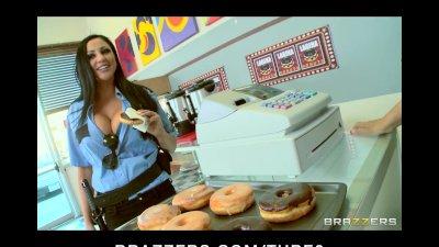 Bigtit Pornstar Audrey Bitoni eats cumfilled donuts then fucks