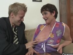 Her hairy old cunt gets hammered by stiff cock