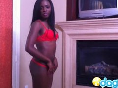 Sexy ebony in red bikini showing her pink pussy holes