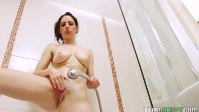 Hot brunette babe Samantha Bentley solo shower strip tease