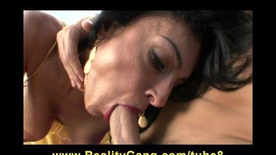 Brunette MILF Persia Pele rides college student's bigdick hard