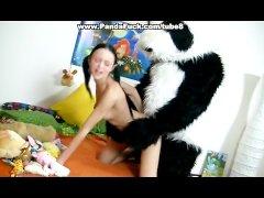 Hot brunette chick fucking with kind Panda bear