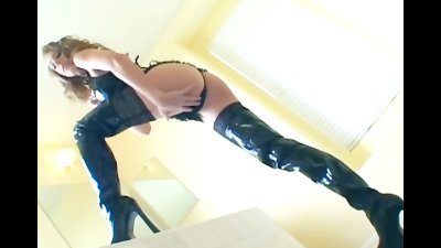 Thigh high boot sex with sexy babe in stockings