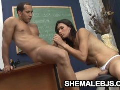 Skinny shemale teacher Renatinha sucking a student s cock