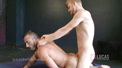 Blonde bottom rides hairy masc top