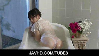 Hot asian doll Azusa Nagasawa all wet as she gets playful