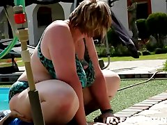 Voluptious BBW Diana fucks a skinny boy by the pool