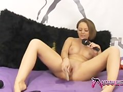 Shebang TV  Sexy Crystal Pink squirting on the pink bed