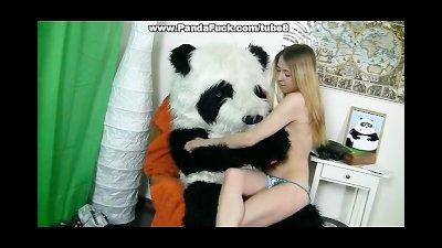 Girl sucks dick in the form of teddy bear