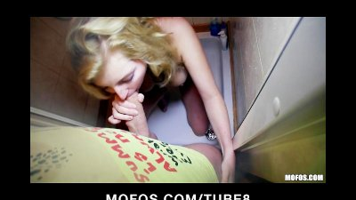 Shy blonde Czech girl agrees to take cash for a public suck fuck