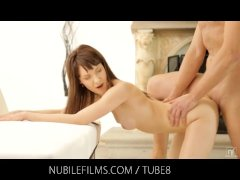 Nubile Films   Cum dripping from her face onto her perky little tits