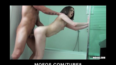 Skinny Russian teen teases and gets fucked in the shower