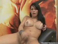 tasty brunette tranny babe tugging on her hard cock