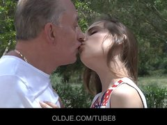 2 old guys fuck 2 young girls