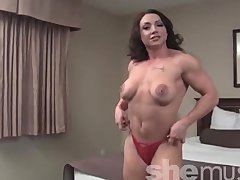 Brandimae   Sexy Muscle Girl Strips and Flexes