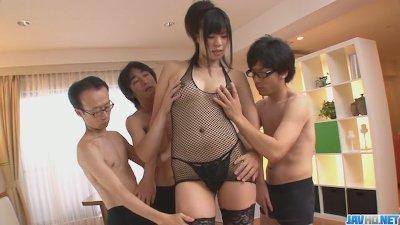 Three guys get a japanese girl blow job from Saki Aoyama