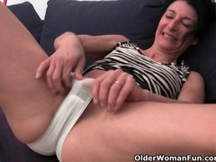 Hairy granny has a wet spot in her pa...