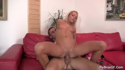 He leaves and she jumps on her BF's bro cock