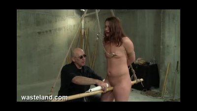 Dungeon BDSM Sex Master Ties Pretty Sub To Bamboo And Torments Her Pussy
