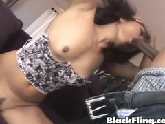 black asian amateur babe takes big black cock in the ass and pussy