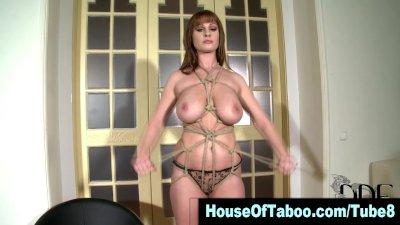 Watch big tits lingerie clad brunette slut getting tied up in hd