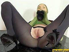 Good looking body Kattie Gold wears nylon mask