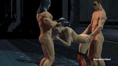 Batman and Robin Gangbang Harley Quinn
