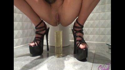 British pornstar blondes peeing in the bathroom