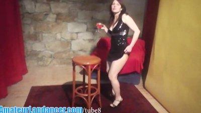 Shy czech chick lapdances in sexy dress