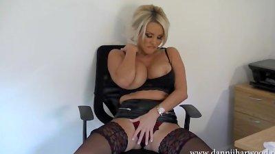 Hot dirty talking secretary Dannii Harwood strips off and wanks