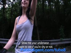 PublicAgent Dark haired rollerblading girl strips in public place