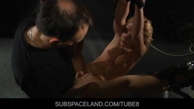 Gentle screams of pleasure and pain of a sexy blonde slave girl