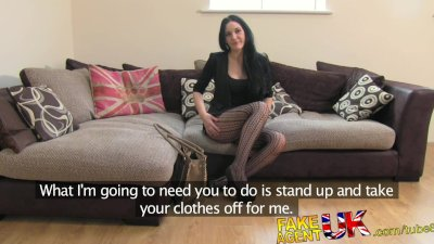 FakeAgentUK Sexy stocking clad Liverpool girl spreads legs in fake casting