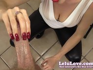 Lelu Love-Red Nails CFNM Handjob Cumshot
