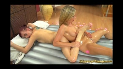 Lesbian Nuru massage sex with two hot chicks